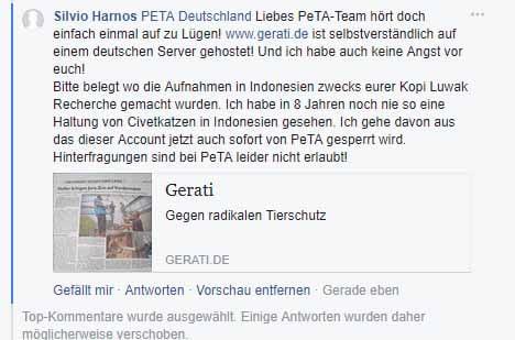 Mein Kommentar abgegeben auf der Facebook Seite von PeTA Deutschland- Dieser wurde von PeTA gelöscht - WARUM WOHL????