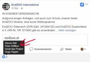 GERATI schreckt EndZOO Betreiber Frank Albrecht auf / Screenshot Facebook