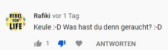 Screenshot Kommentar unter GERATI Video